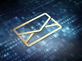 Business concept: Golden Email on digital background