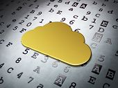 Cloud networking concept: Golden Cloud on Hexadecimal Code background