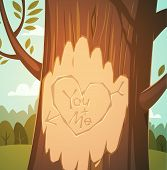 Carved heart in a tree. Valentine's Day Card. Vector illustration.