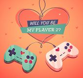 Will you be my player two? Valentine's Day Card. Vector illustration.