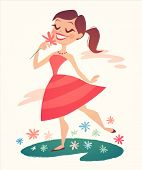 Girl is walking and smelling flowers. Vector illustration.