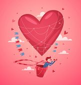 A man in a hot air balloon searching for love. Valentine's Day Card. Vector illustration.