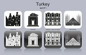 Landmarks of Turkey. Set of monochrome icons. Editable vector illustration.