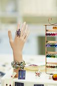 Artifical hand to display jewelry and rings in a jeweler shop