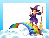 Illustration of an empty template with a fairy and a rainbow