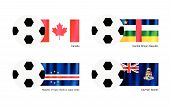 Football With Canada, Central African, Cape Verde And Cayman Flag