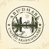 Grunge rubber stamp with Abu Dhabi, UAE - vector illustration