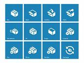 Box icons on blue background.