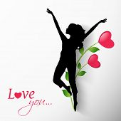 Silhouette of a young happy girl on floral decorated grey background for Happy Valentines Day concept.