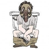 An image of a man sitting on a smelly toilet wearing gas mask.