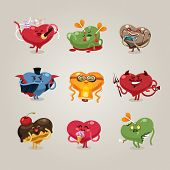 Valentines Hearts Icons Set