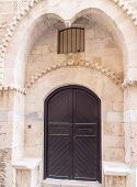 Old Wooden Door With Arch In Historic Jaffa