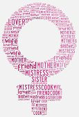 Graphic Design Women's Day Related In Shape Of Female Symbol