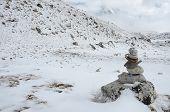 Path Sign On Everest Base Camp Trek In A Haze ,himalayas,nepal,asia