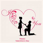 Happy Valentines Day celebration concept with silhouette of young couple in love on floral decorated