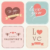 Happy Valentines Day celebrations colorful greeting card set.