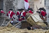 Assault city of Brihuega, during the re-enactment of the War of Succession. September 4, 2010 in Bri