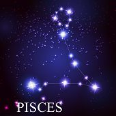 Pisces zodiac sign of the beautiful bright stars