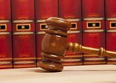 Old gavel and vintage old book