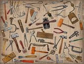 vintage collectible tools mix collage over old stain paper background