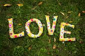 Word LOVE made ??from fabric on green grass.
