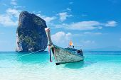 Fishing thai boat and landmark at Poda island, Krabi Province, Andaman Sea, South of Thailand