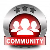 Community a local human group of people together united in a social cooperation connection and help online internet network