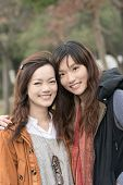 Happy smiling Asian women in the park, taipei, Taiwan.