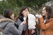 Happy young Asian woman eating cotton candy with her friends in outdoor.