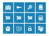 Real Estate icons on blue background.