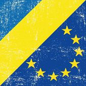 Ukraine and european grunge flag