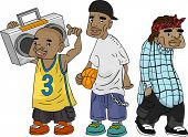 Illustration of African-American Teens Sporting a Ghetto Look