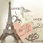 Greeting Valentine Card With Detailed Vector Eiffel Tower