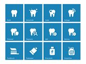 Dental icons on blue background.