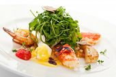 Salad with King Red Crab, Shrimps, White Asparagus, Poached Quail Eggs, Rucola and Truffle