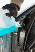 transportation, winter and vehicle concept - closeup of man pouring antifreeze into windscreen water