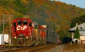 stock photo of boxcar  - Canadian Pacific train 39T shatters the small town of Owego NY enroute to Buffalo - JPG