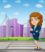 Illustration of a businesswoman with a formal attire standing at the pedestrian lane