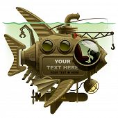 foto of machinery  - Vector isolated image of the complex fantastic submarine in the form of fish with machinery - JPG