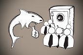 Loan shark and finance doodles against grey background with vignette