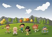 Group of cute happy cartoon kids playing in green  park