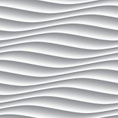 White seamless texture. Wavy background. Interior wall decoration. 3D Vector interior wall panel pat