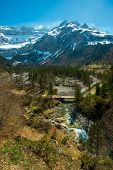 Fast river in Cirque de Gavarnie valley, France
