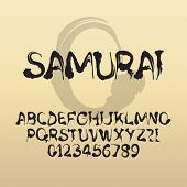Samurai, Abstract Japanese Brush Font And Numbers, Eps 10 Vector Editable