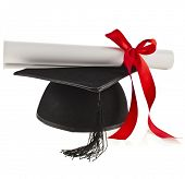 Black Graduation Cap and diploma scroll  Isolated on White Background