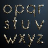 Shiny diamond and gold alphabet letters - lowercase version - eps10
