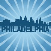 Philadelphia skyline reflected with blue sunburst illustration