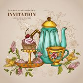 Vintage Menu or Invitation Card - with Teapot and Desserts - in vector