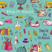 Back to School - Seamless Background - for design, texture, wallpaper, scrapbook - in vector
