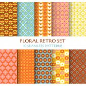 10 Seamless Patterns - Floral Retro Set - texture for wallpaper, background, scrapbook, design - in